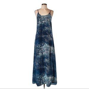 Anthro Partimi 100% silk blue Galaxy maxi dress 4